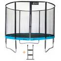 Trampoline de jardin 305 cm + filet de sécurité + échelle ATOLL300