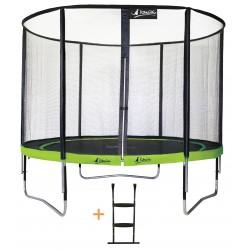 Trampoline de jardin 305 cm + filet de sécurité + échelle ALOE300