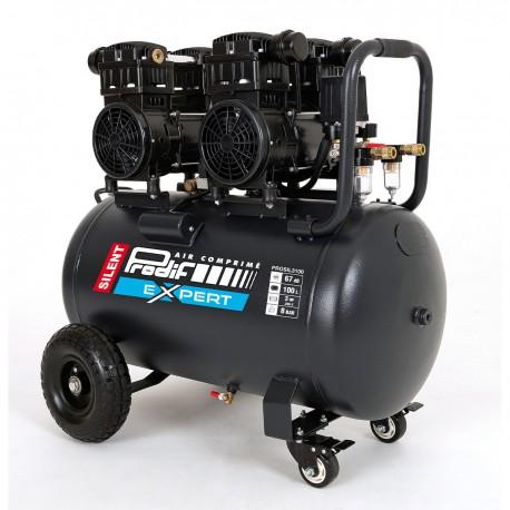 Compresseur mobile 100 litres silencieux 3 CV 8 bars 15,6 m3/h, 4 cylindres
