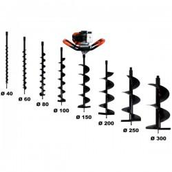 Tarière thermique 52 cm3, 3 CV + lot de 8 mèches (80, 100, 150, 200, 250 et 300 mm)